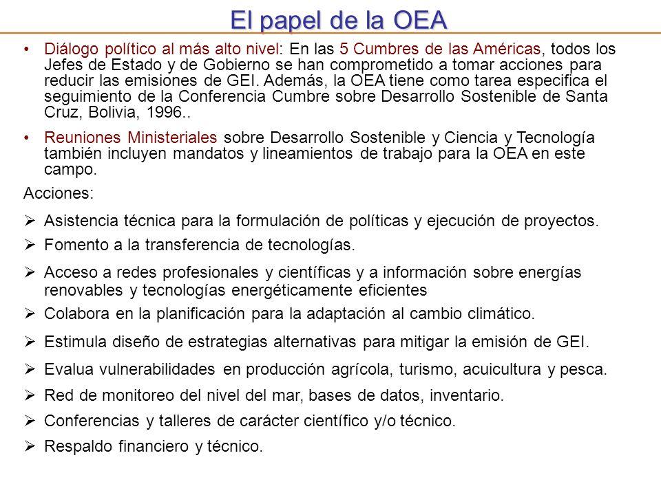El papel de la OEA Diálogo político al más alto nivel: En las 5 Cumbres de las Américas, todos los Jefes de Estado y de Gobierno se han comprometido a