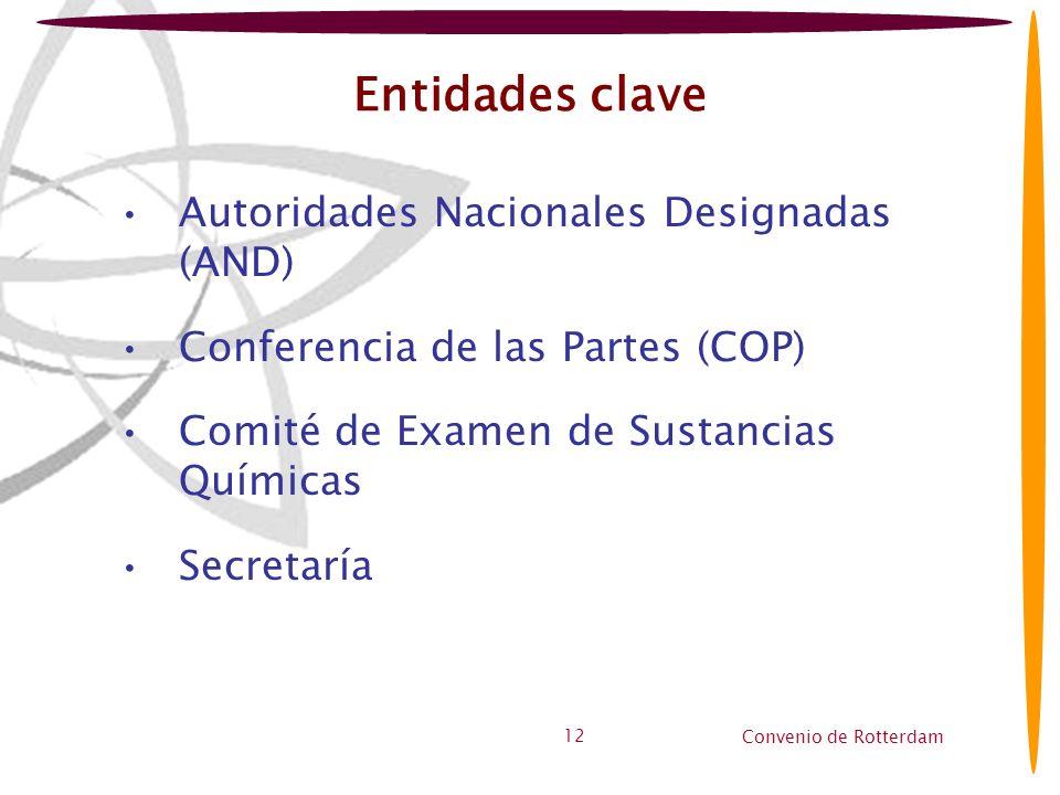 Convenio de Rotterdam 12 Entidades clave Autoridades Nacionales Designadas (AND) Conferencia de las Partes (COP) Comité de Examen de Sustancias Químic
