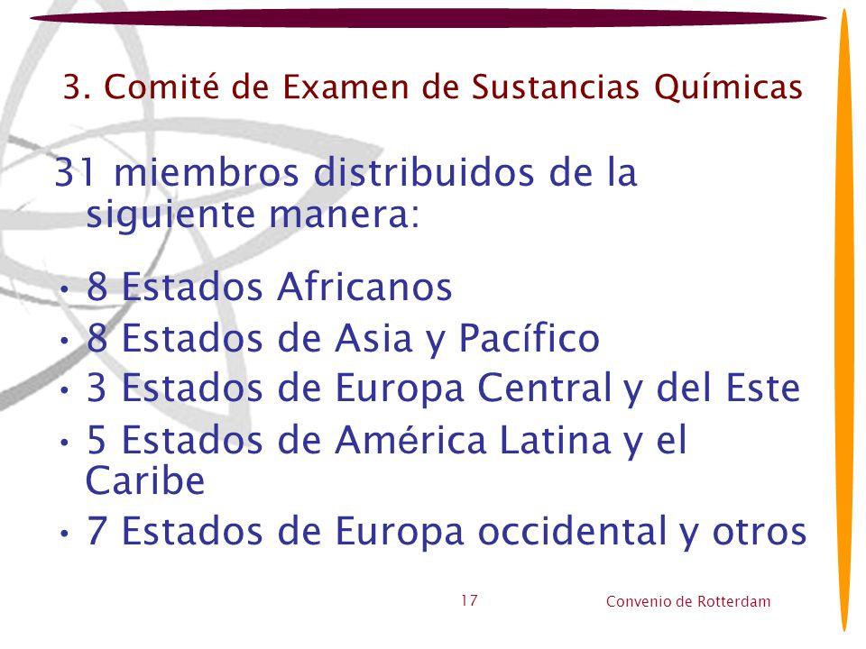 Convenio de Rotterdam 17 3. Comité de Examen de Sustancias Químicas 31 miembros distribuidos de la siguiente manera: 8 Estados Africanos 8 Estados de