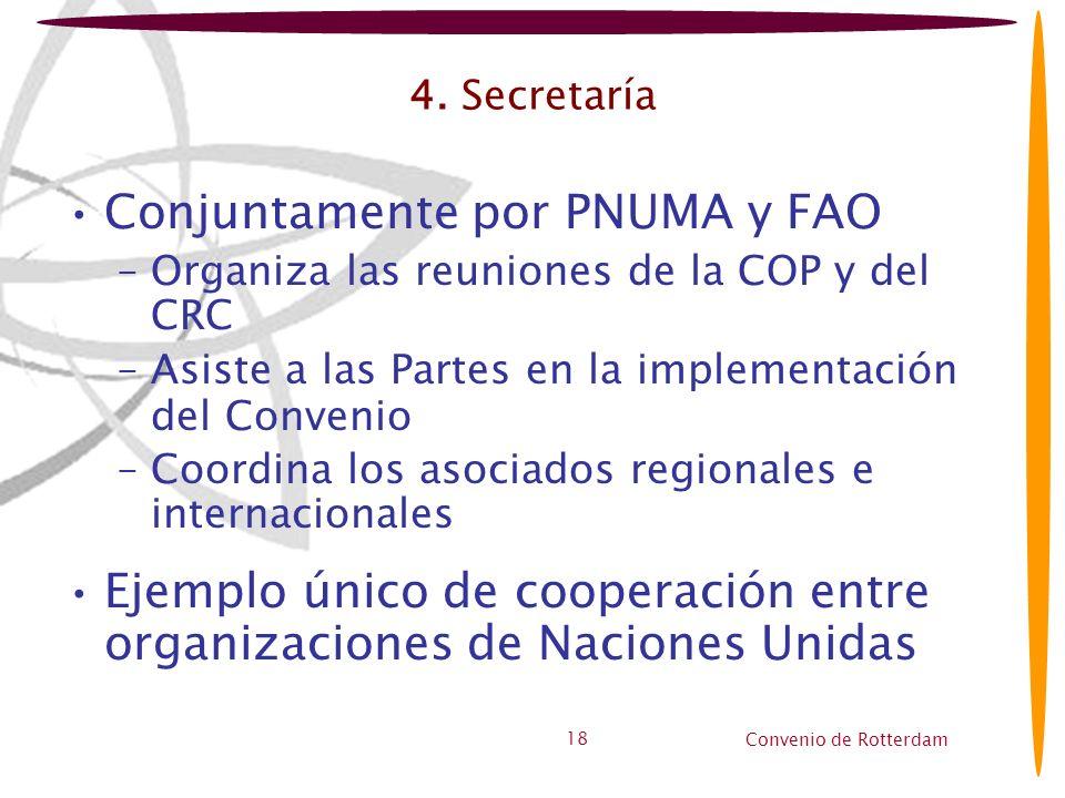 Convenio de Rotterdam 18 4. Secretaría Conjuntamente por PNUMA y FAO –Organiza las reuniones de la COP y del CRC –Asiste a las Partes en la implementa