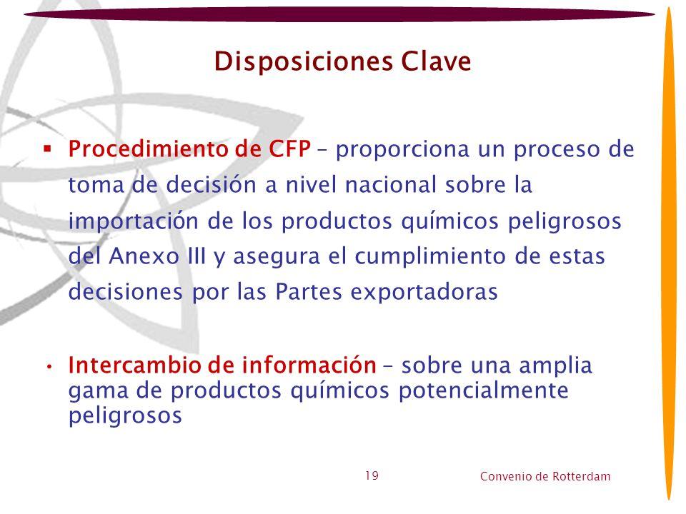 Convenio de Rotterdam 19 Disposiciones Clave Procedimiento de CFP – proporciona un proceso de toma de decisión a nivel nacional sobre la importaci ó n