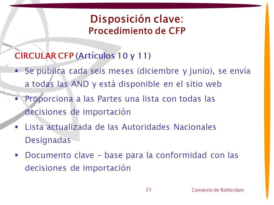 Convenio de Rotterdam 23 Disposición clave: Procedimiento de CFP CIRCULAR CFP (Artículos 10 y 11) Se publica cada seis meses (diciembre y junio), se e
