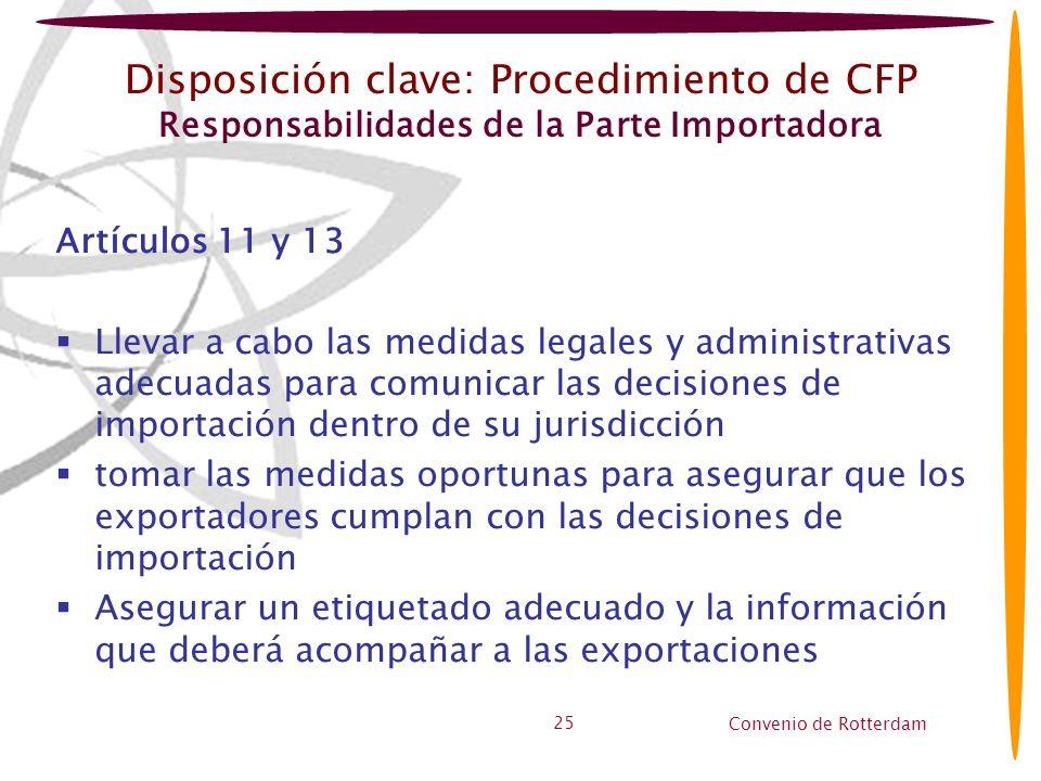 Convenio de Rotterdam 25 Disposición clave: Procedimiento de CFP Responsabilidades de la Parte Importadora Artículos 11 y 13 Llevar a cabo las medidas