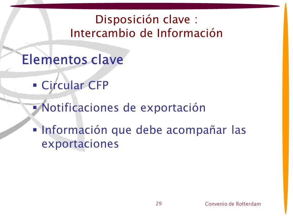 Convenio de Rotterdam 29 Disposición clave : Intercambio de Información Elementos clave Circular CFP Notificaciones de exportación Información que deb