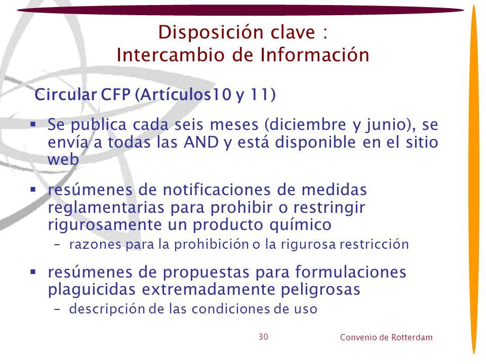 Convenio de Rotterdam 30 Disposición clave : Intercambio de Información Circular CFP (Artículos10 y 11) Se publica cada seis meses (diciembre y junio)