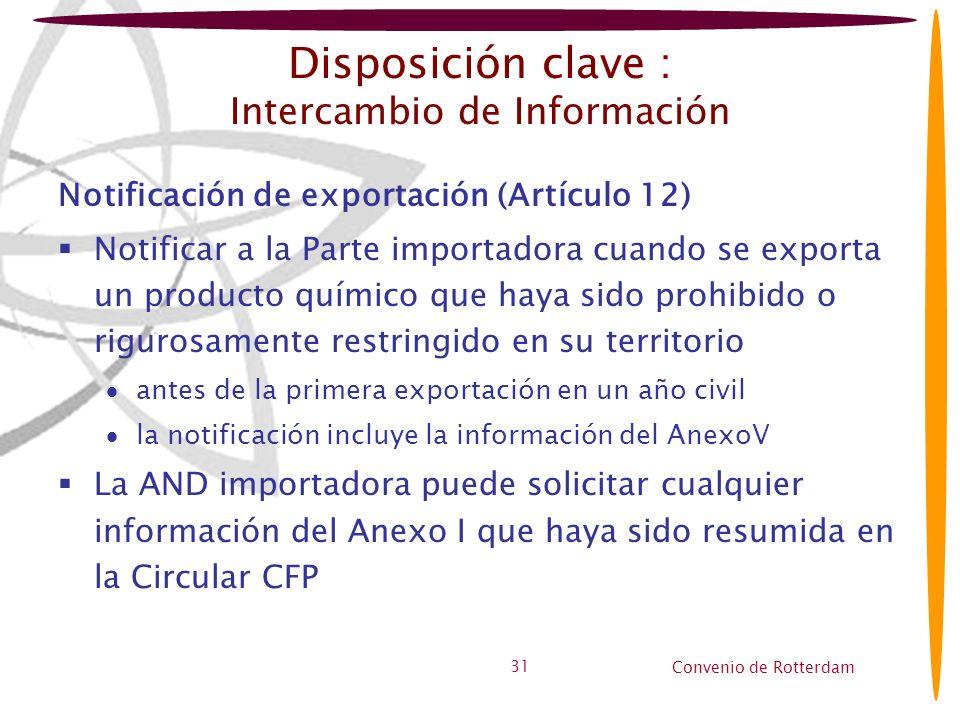 Convenio de Rotterdam 31 Disposición clave : Intercambio de Información Notificación de exportación (Artículo 12) Notificar a la Parte importadora cua
