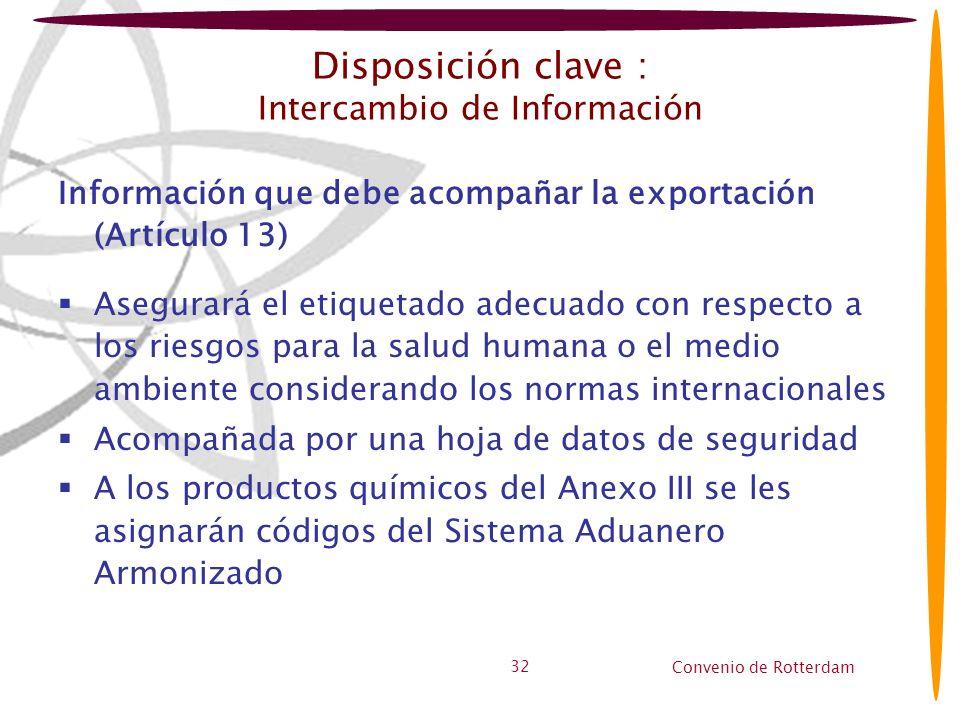 Convenio de Rotterdam 32 Disposición clave : Intercambio de Información Información que debe acompañar la exportación (Artículo 13) Asegurará el etiqu
