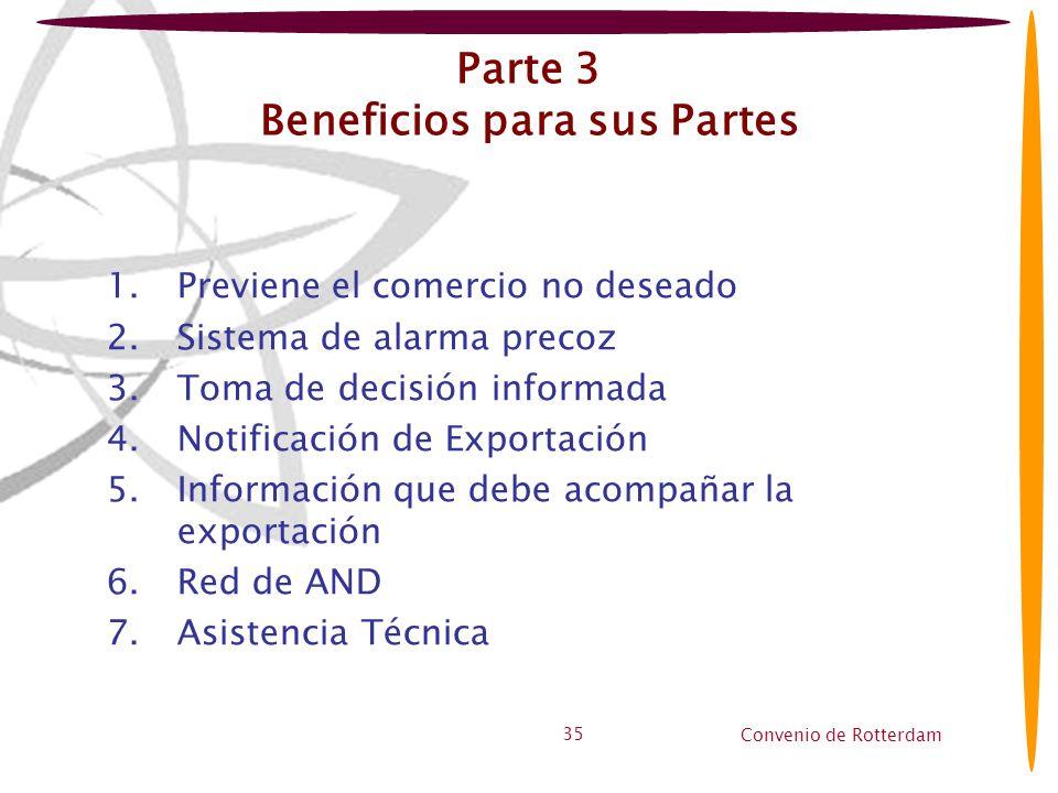 Convenio de Rotterdam 35 Parte 3 Beneficios para sus Partes 1.Previene el comercio no deseado 2.Sistema de alarma precoz 3.Toma de decisión informada