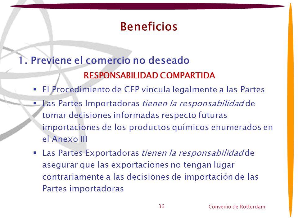 Convenio de Rotterdam 36 Beneficios 1. Previene el comercio no deseado RESPONSABILIDAD COMPARTIDA El Procedimiento de CFP vincula legalmente a las Par