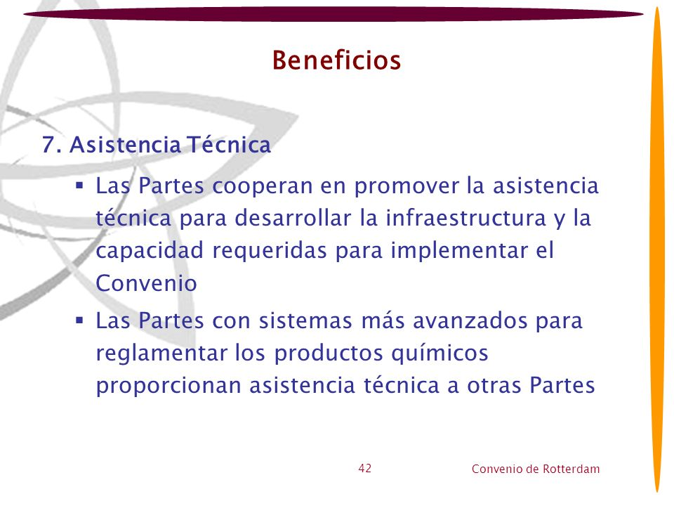 Convenio de Rotterdam 42 Beneficios 7. Asistencia Técnica Las Partes cooperan en promover la asistencia técnica para desarrollar la infraestructura y