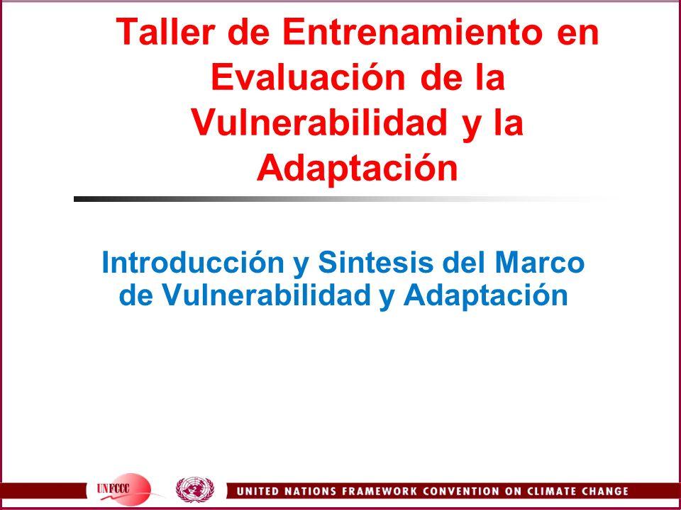 Taller de Entrenamiento en Evaluación de la Vulnerabilidad y la Adaptación Introducción y Sintesis del Marco de Vulnerabilidad y Adaptación