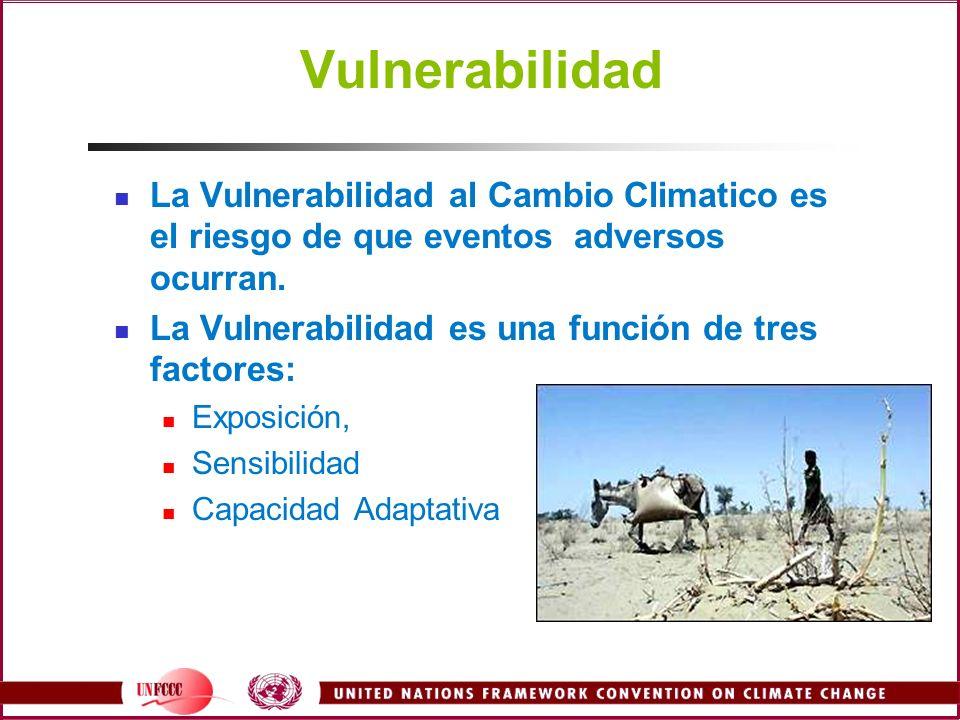 Vulnerabilidad La Vulnerabilidad al Cambio Climatico es el riesgo de que eventos adversos ocurran. La Vulnerabilidad es una función de tres factores: