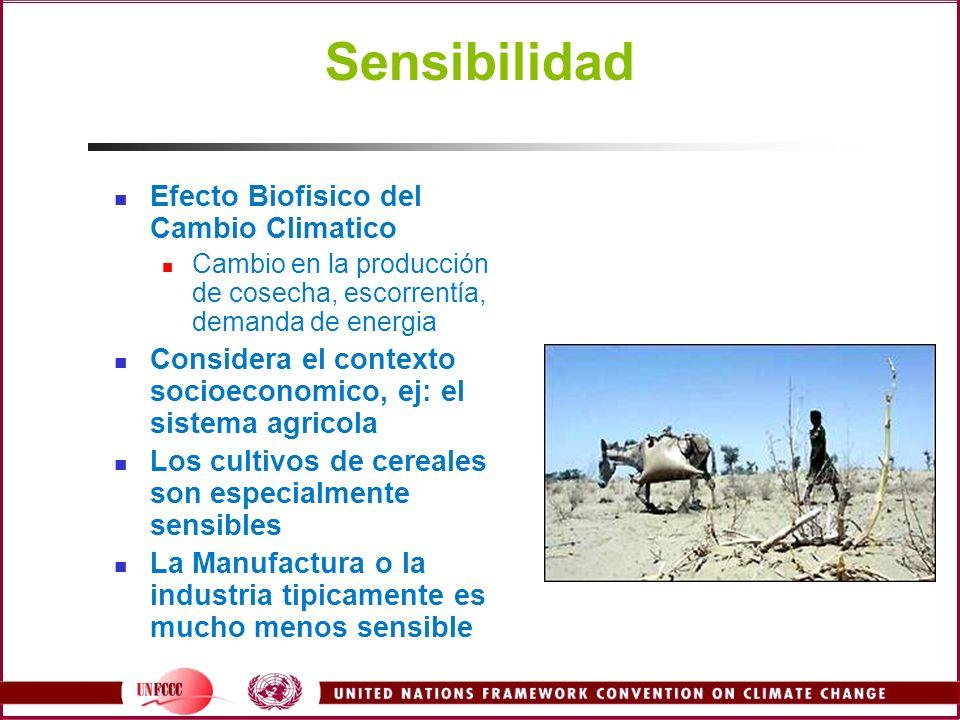 Sensibilidad Efecto Biofisico del Cambio Climatico Cambio en la producción de cosecha, escorrentía, demanda de energia Considera el contexto socioecon