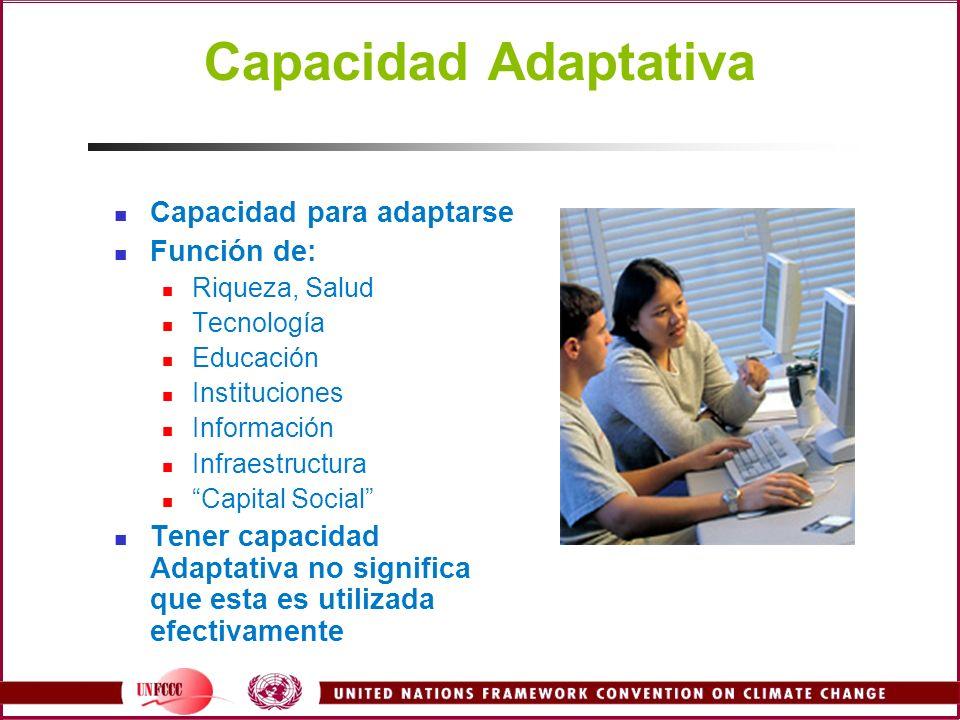 Capacidad Adaptativa Capacidad para adaptarse Función de: Riqueza, Salud Tecnología Educación Instituciones Información Infraestructura Capital Social