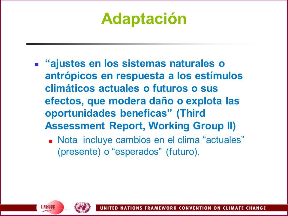 Adaptación ajustes en los sistemas naturales o antrópicos en respuesta a los estímulos climáticos actuales o futuros o sus efectos, que modera daño o