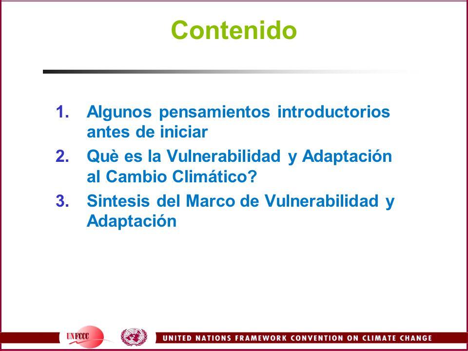 Contenido 1.Algunos pensamientos introductorios antes de iniciar 2.Què es la Vulnerabilidad y Adaptación al Cambio Climático? 3.Sintesis del Marco de