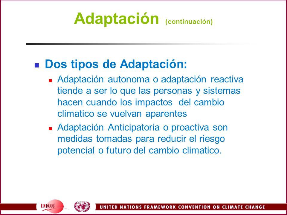 Adaptación (continuación) Dos tipos de Adaptación: Adaptación autonoma o adaptación reactiva tiende a ser lo que las personas y sistemas hacen cuando