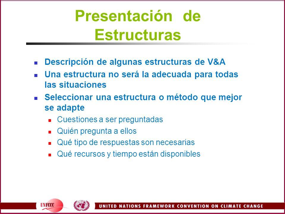 Presentación de Estructuras Descripción de algunas estructuras de V&A Una estructura no será la adecuada para todas las situaciones Seleccionar una es