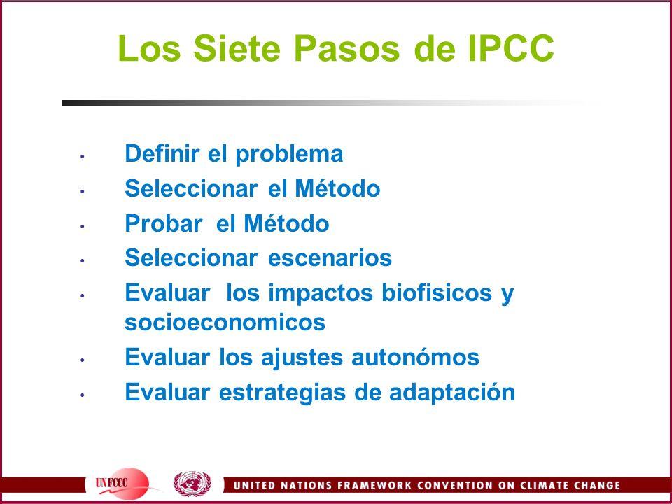 Los Siete Pasos de IPCC Definir el problema Seleccionar el Método Probar el Método Seleccionar escenarios Evaluar los impactos biofisicos y socioecono
