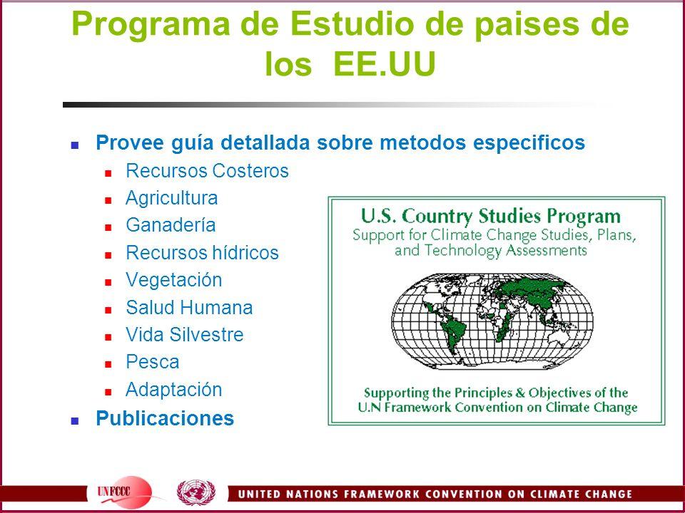 Programa de Estudio de paises de los EE.UU Provee guía detallada sobre metodos especificos Recursos Costeros Agricultura Ganadería Recursos hídricos V
