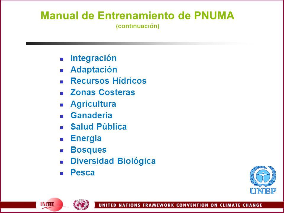 Manual de Entrenamiento de PNUMA (continuación) Integración Adaptación Recursos Hídricos Zonas Costeras Agricultura Ganaderia Salud Pública Energia Bo