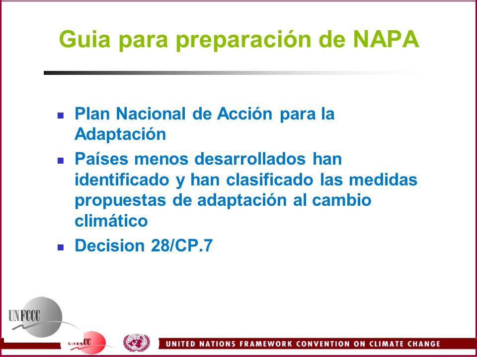Guia para preparación de NAPA Plan Nacional de Acción para la Adaptación Países menos desarrollados han identificado y han clasificado las medidas pro