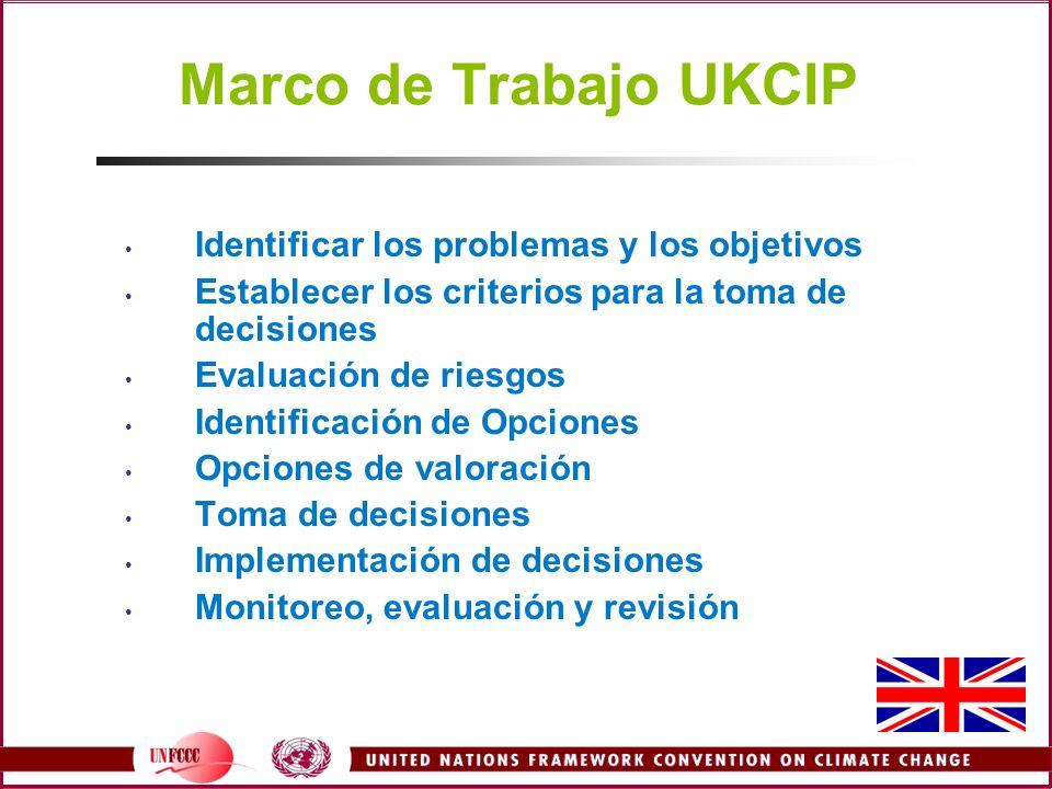 Marco de Trabajo UKCIP Identificar los problemas y los objetivos Establecer los criterios para la toma de decisiones Evaluación de riesgos Identificac