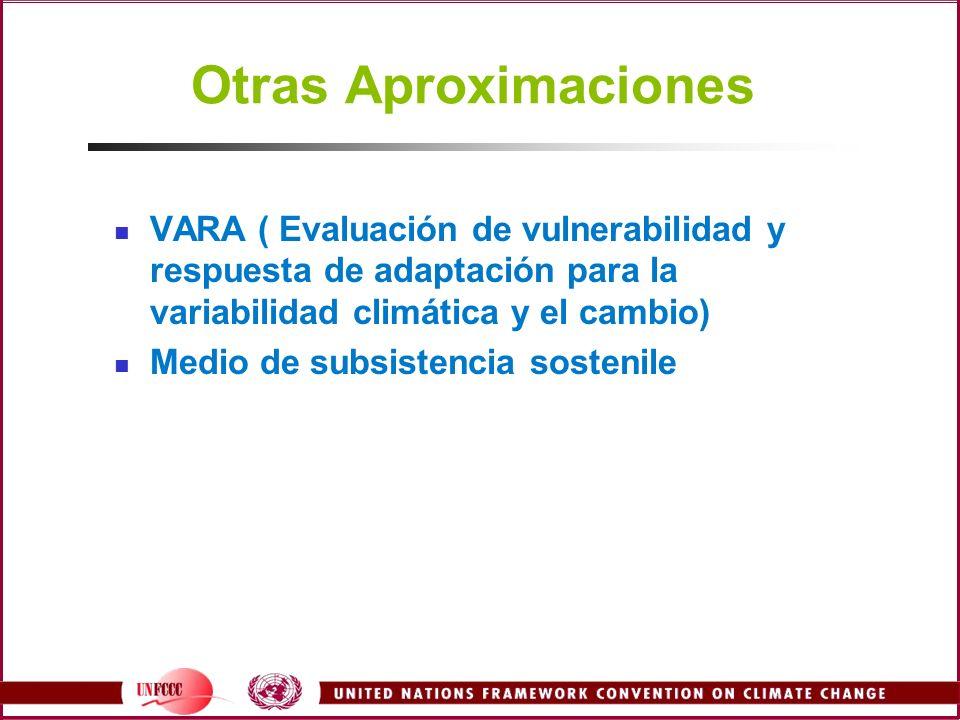 Otras Aproximaciones VARA ( Evaluación de vulnerabilidad y respuesta de adaptación para la variabilidad climática y el cambio) Medio de subsistencia s