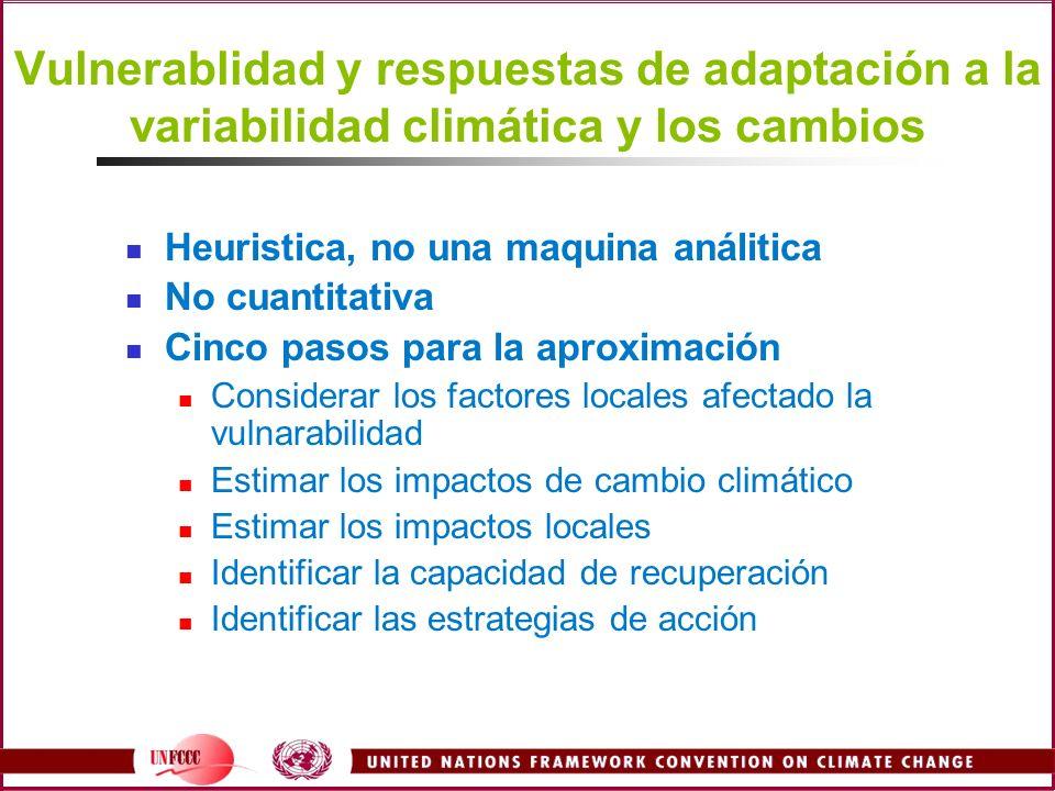 Vulnerablidad y respuestas de adaptación a la variabilidad climática y los cambios Heuristica, no una maquina análitica No cuantitativa Cinco pasos pa