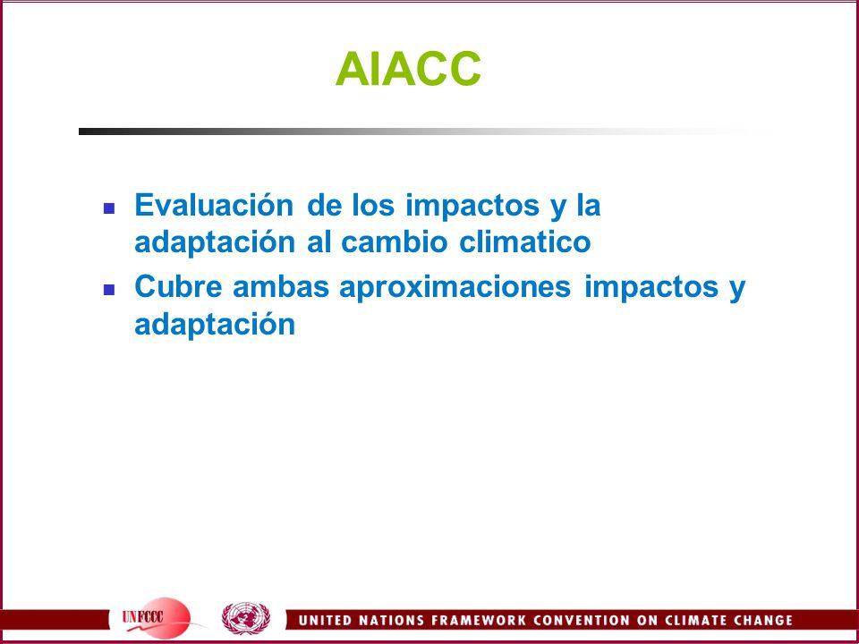 AIACC Evaluación de los impactos y la adaptación al cambio climatico Cubre ambas aproximaciones impactos y adaptación