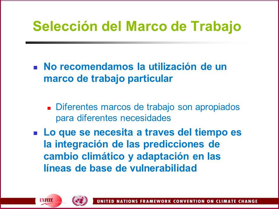 Selección del Marco de Trabajo No recomendamos la utilización de un marco de trabajo particular Diferentes marcos de trabajo son apropiados para difer