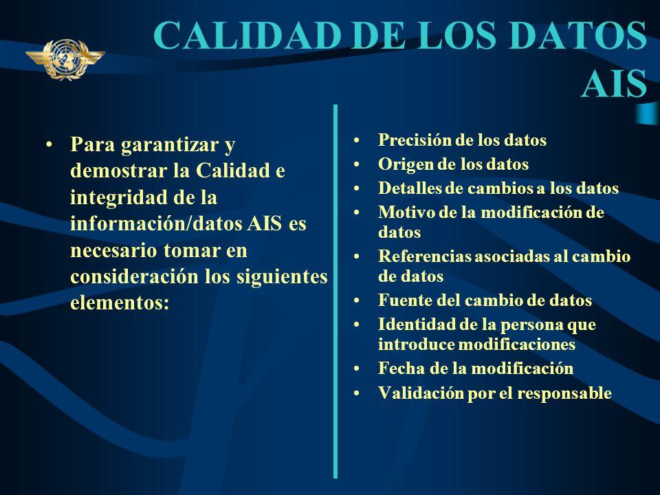 SISTEMA DE CALIDAD -PUBLICACIÓN- Para su publicación la información/datos aeronáuticos obtenidos tienen que ser debidamente verificados y validados po