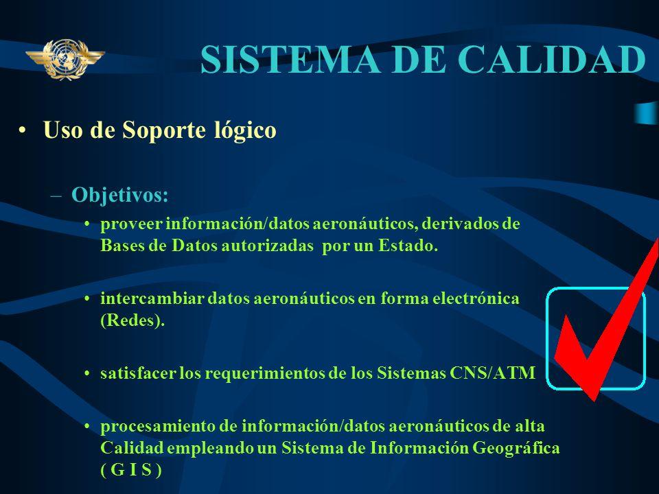 SISTEMA DE CALIDAD El Sistema de Calidad permite que la información / datos aeronáuticos que se proporcionan a los usuarios sean proveídos con: –Exact