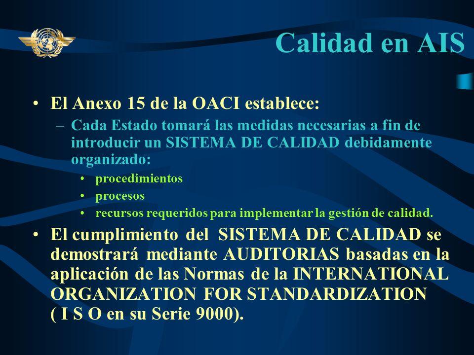 Calidad en AIS El Anexo 15 de la OACI establece: –Cada Estado tomará las medidas necesarias a fin de introducir un SISTEMA DE CALIDAD debidamente organizado: procedimientos procesos recursos requeridos para implementar la gestión de calidad.