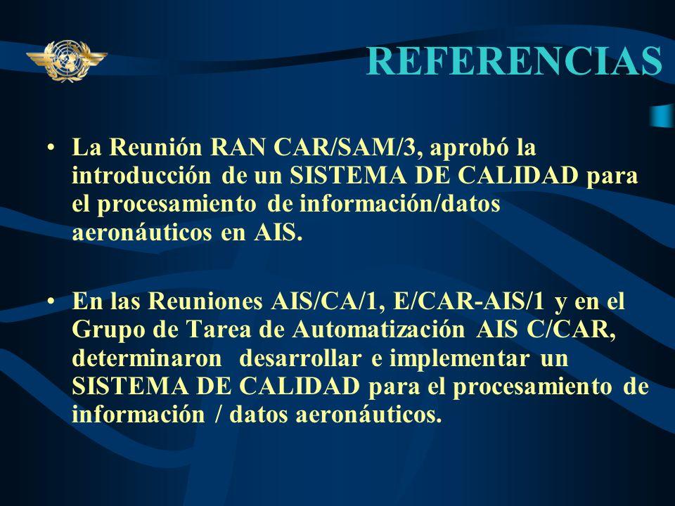 REFERENCIAS La Reunión RAN CAR/SAM/3, aprobó la introducción de un SISTEMA DE CALIDAD para el procesamiento de información/datos aeronáuticos en AIS.