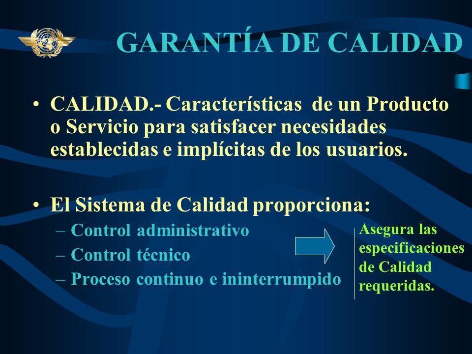 GARANTÍA DE CALIDAD CALIDAD.- Características de un Producto o Servicio para satisfacer necesidades establecidas e implícitas de los usuarios.
