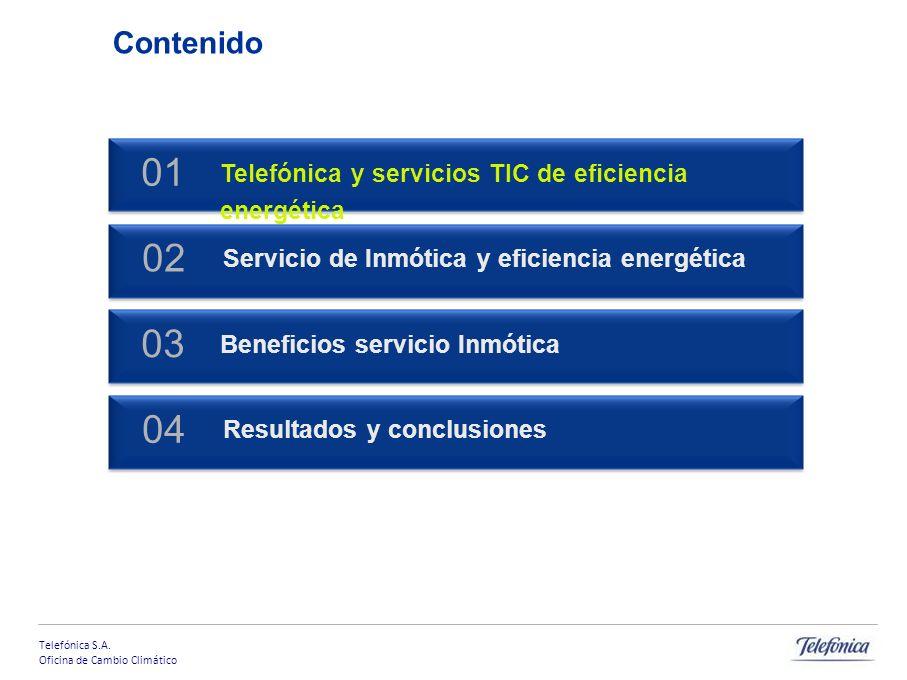 Telefónica S.A. Oficina de Cambio Climático Productos y servicios TIC Servicio de Inmótica para la Eficiencia Energética Oficina de Cambio Climático.
