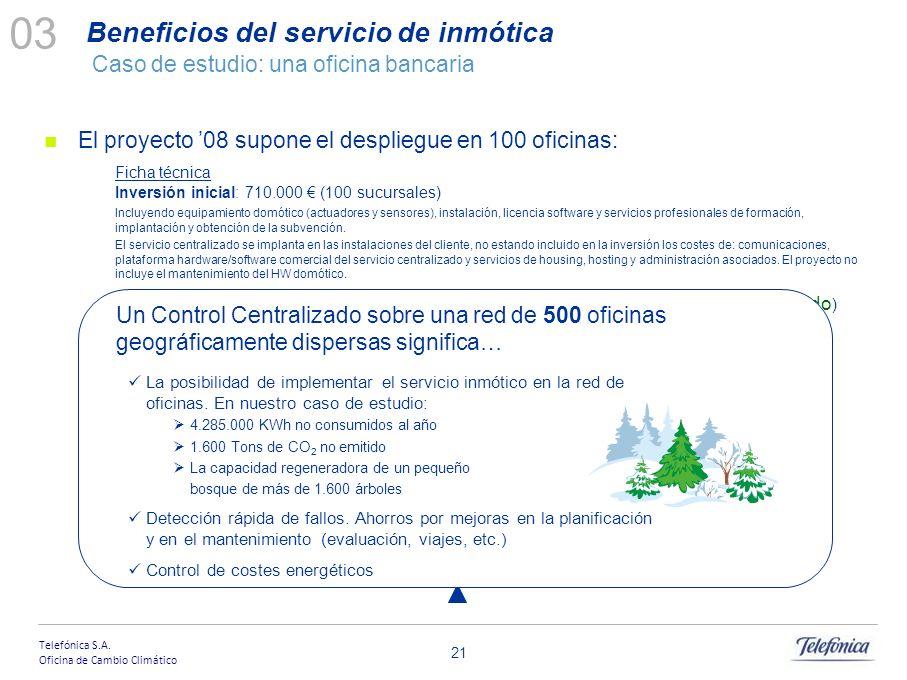 Telefónica S.A. Oficina de Cambio Climático 20 Telefónica es dueña de la propiedad intelectual del software de inteligencia energética Con las primera