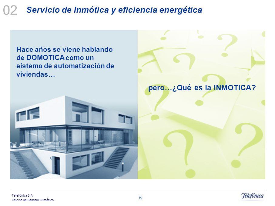 Telefónica S.A. Oficina de Cambio Climático Contenido Telefónica y servicios TIC de eficiencia energética 01 Servicio de Inmótica y eficiencia energét