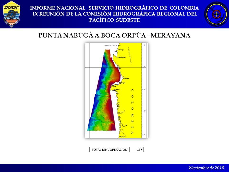 INFORME NACIONAL SERVICIO HIDROGRÁFICO DE COLOMBIA IX REUNIÓN DE LA COMISIÓN HIDROGRÁFICA REGIONAL DEL PACÍFICO SUDESTE Noviembre de 2010 PUNTA NABUGÁ