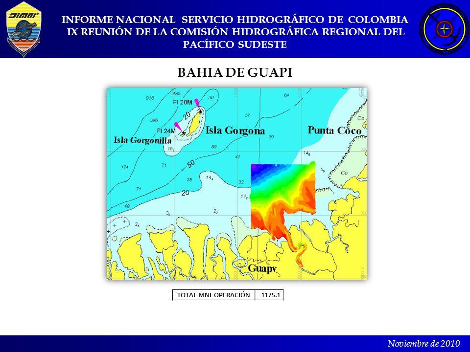 INFORME NACIONAL SERVICIO HIDROGRÁFICO DE COLOMBIA IX REUNIÓN DE LA COMISIÓN HIDROGRÁFICA REGIONAL DEL PACÍFICO SUDESTE Noviembre de 2010 BAHIA DE GUA