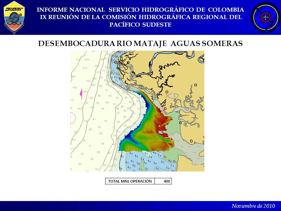 INFORME NACIONAL SERVICIO HIDROGRÁFICO DE COLOMBIA IX REUNIÓN DE LA COMISIÓN HIDROGRÁFICA REGIONAL DEL PACÍFICO SUDESTE Noviembre de 2010 DESEMBOCADUR