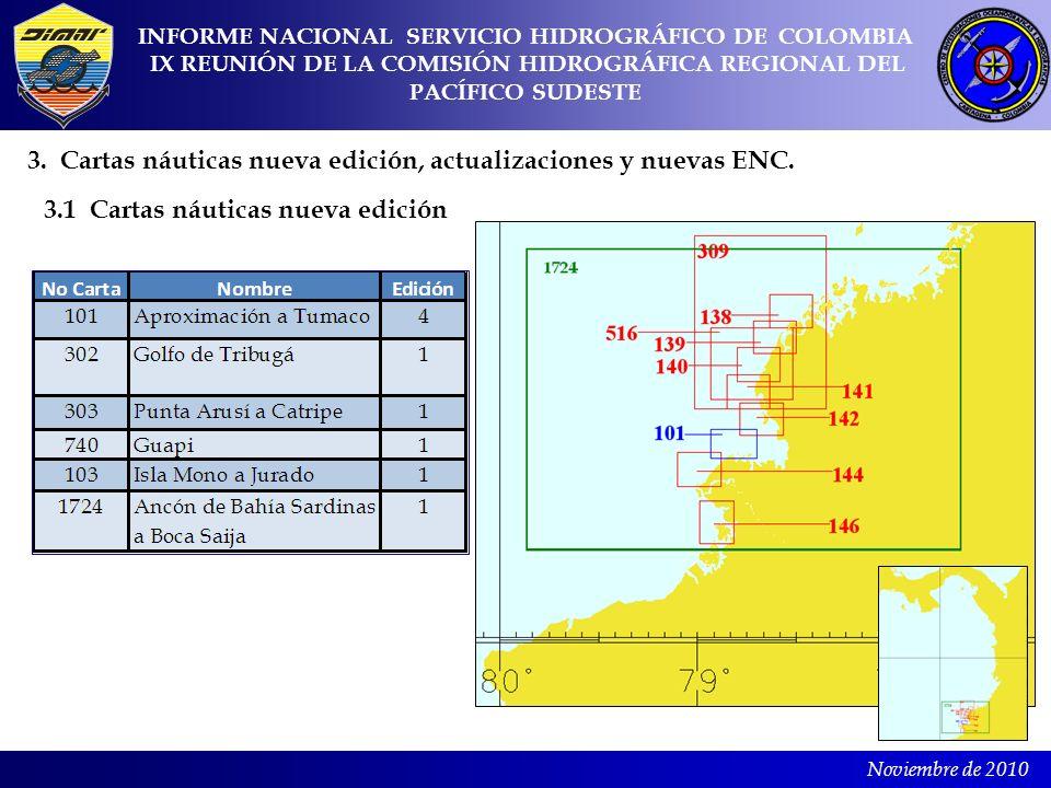 Noviembre de 2010 3. Cartas náuticas nueva edición, actualizaciones y nuevas ENC. 3.1 Cartas náuticas nueva edición INFORME NACIONAL SERVICIO HIDROGRÁ