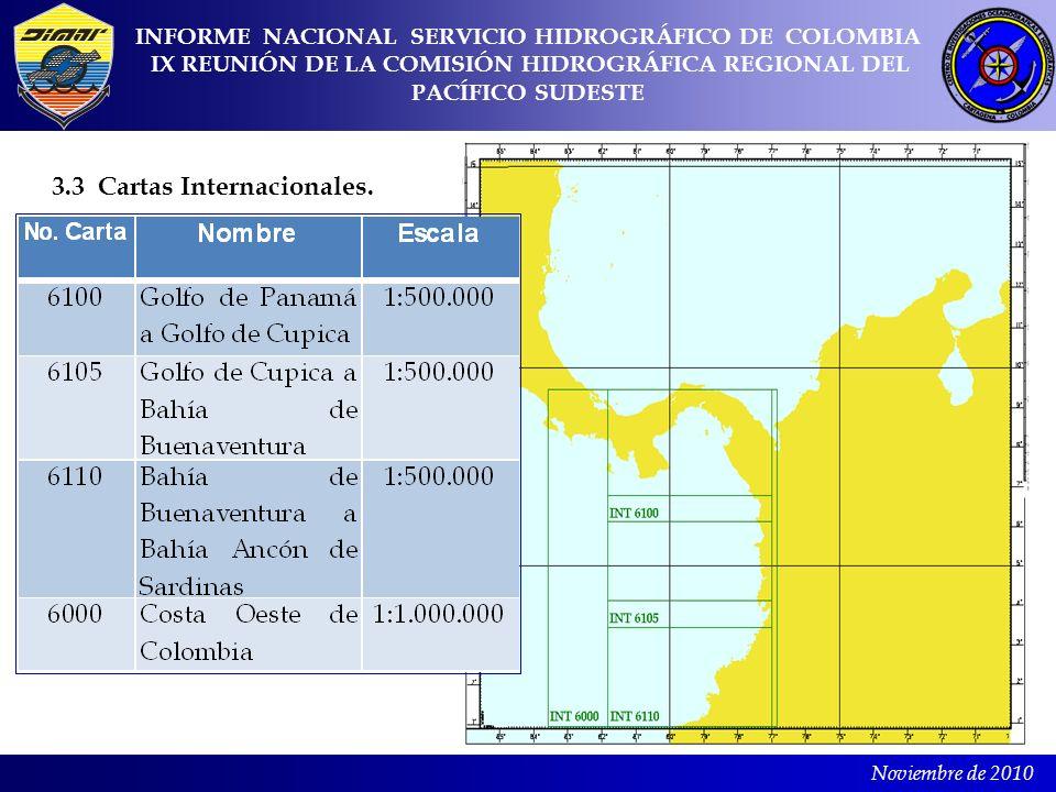 Noviembre de 2010 3.3 Cartas Internacionales. INFORME NACIONAL SERVICIO HIDROGRÁFICO DE COLOMBIA IX REUNIÓN DE LA COMISIÓN HIDROGRÁFICA REGIONAL DEL P