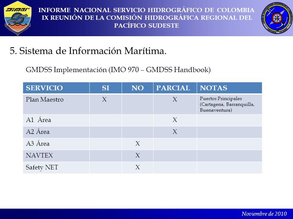 Noviembre de 2010 5. Sistema de Información Marítima. INFORME NACIONAL SERVICIO HIDROGRÁFICO DE COLOMBIA IX REUNIÓN DE LA COMISIÓN HIDROGRÁFICA REGION