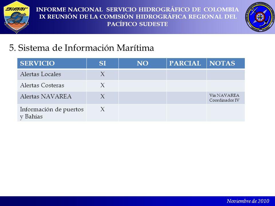 Noviembre de 2010 5. Sistema de Información Marítima INFORME NACIONAL SERVICIO HIDROGRÁFICO DE COLOMBIA IX REUNIÓN DE LA COMISIÓN HIDROGRÁFICA REGIONA
