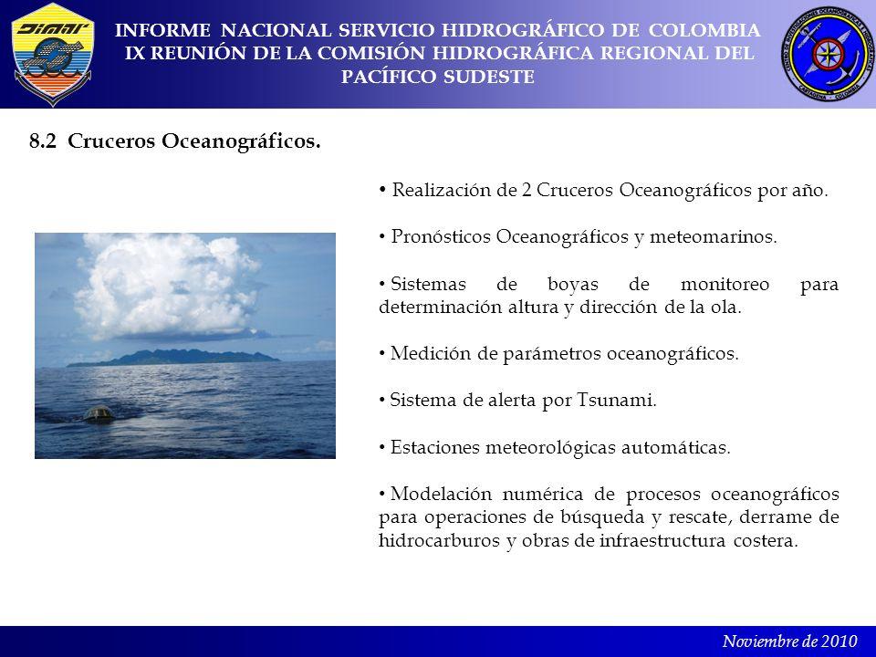 Noviembre de 2010 INFORME NACIONAL SERVICIO HIDROGRÁFICO DE COLOMBIA IX REUNIÓN DE LA COMISIÓN HIDROGRÁFICA REGIONAL DEL PACÍFICO SUDESTE 8.2 Cruceros