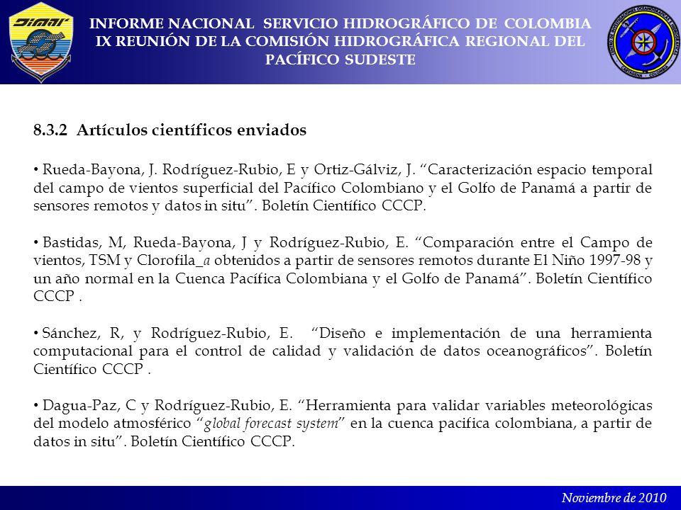Noviembre de 2010 8.3.2 Artículos científicos enviados Rueda-Bayona, J. Rodríguez-Rubio, E y Ortiz-Gálviz, J. Caracterización espacio temporal del cam