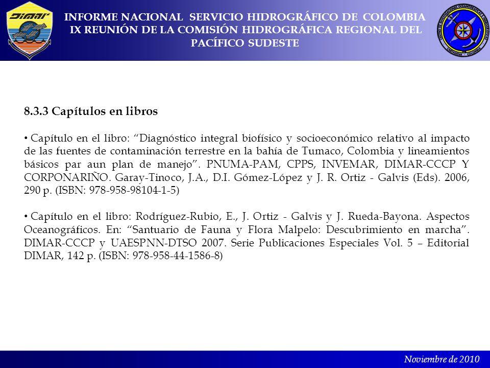 Noviembre de 2010 8.3.3 Capítulos en libros Capítulo en el libro: Diagnóstico integral biofísico y socioeconómico relativo al impacto de las fuentes d