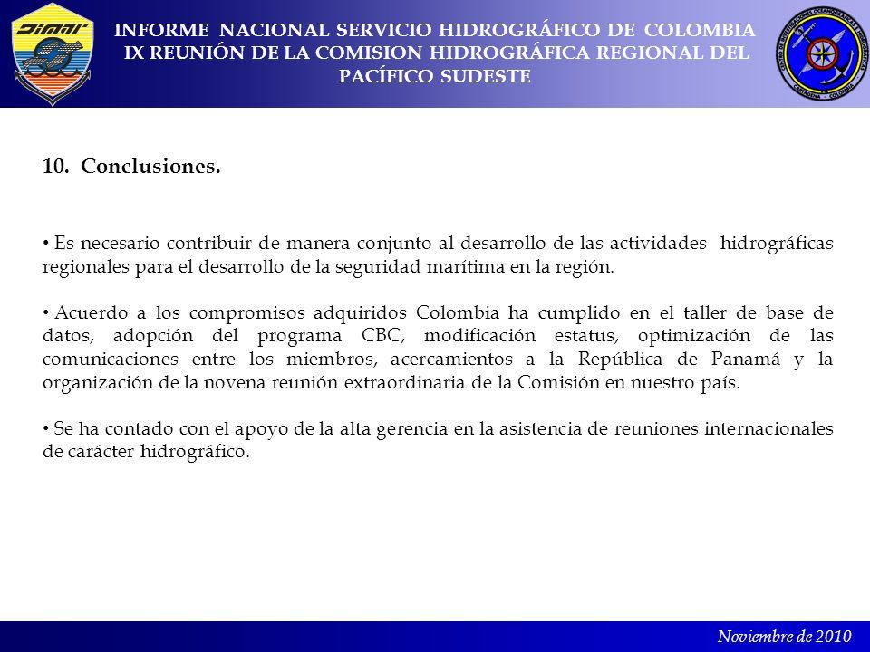 Noviembre de 2010 10. Conclusiones. Es necesario contribuir de manera conjunto al desarrollo de las actividades hidrográficas regionales para el desar